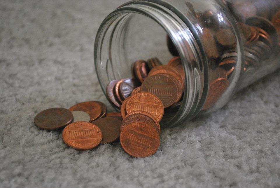 centy ve sklenici